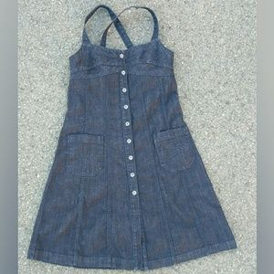 """""""M""""7FAM denim pinafore jumper overall dress button"""